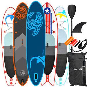 NEMAXX Tabla de paddel surf SUP, tabla de Paddle Board, surf + remos, aletas