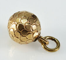Antique Victorian 9K Gold Chased Ball Charm Fob Pendant C.1890