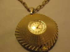 Jewel Watch Necklace Vintage Westclox Goldtone 17