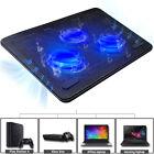 "USB Cooler Laptop Cooling Pad 3 Fan Stand Quiet LED Light Radiator 15"" -17"" Slim"