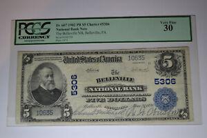Belleville, PA - $5 1902 Plain Back Fr. 607 The Belleville NB Ch. # 5306. PCGS