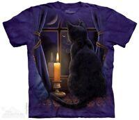 Midnight Vigil T-Shirt by The Mountain. Black Cat & Moon Sizes S-5XL NEW