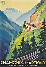 Affiche chemin de fer PLM - Chamonix-Martigny