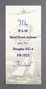 KLM ROYAL DUTCH AIRLINES DOUGLAS DC-4 PH-TCF NAMING AIRLINE BROCHURE