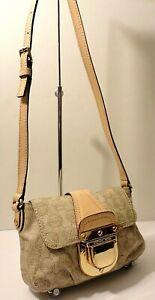 Michael Kors MK Logo Print Leather Trim Crossbody Swingpack Shoulder Purse Bag