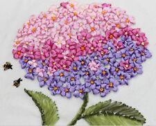 Finished HANDMADE Satin Ribbon Hydrangea Flower Embroidery Home Wall Art Decor