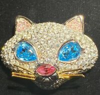 SWAROVSKI SWan Signed Pave Crystal Cat Brooch Pin
