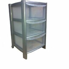 3 DRAWER SILVER TOWER UNIT !! PLASTIC DRAWERS !! STORAGE ORGANIZER !! OFFICE !!