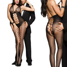 Open Back Halter Fishnet Scale Top Open Cutout Stretchy Catsuit Bodystocking OS