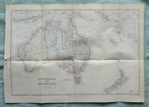 Australia & New Zealand, original antique map, c1860