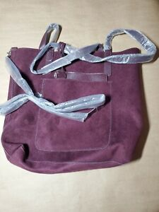 Womens Purple Large Tote Purse Faux Leather Suede Reversible Bag Zip Pouch