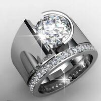 Trendy 925 Silver White Topaz Band Ring Women Wedding Engagement Jewelry Sz 5-11
