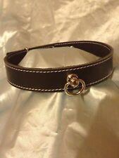 Handmade Padlocking  leather Black With White Thread collar CO58 Bondage fetish