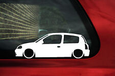 2x Lowered Renault Clio Mk2 sport RS 172 Pre-Facelift outline stickers / Decals