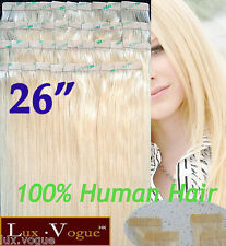"26"" 40pcs 100% Human Hair 3M Tape-in Extensions Remy #24"