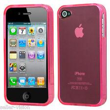 Light Pink Rubber Hard Gel Skin Transparent Case Cover for Apple iPhone 4 4S