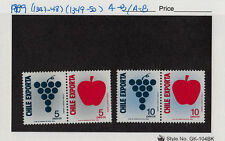 CHILE 1989 STAMP # 1347/50 A-B MNH FRUITS APPLE GRAPES