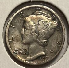 1917-S MERCURY DIME, EXTRA FINE, OLD CLEANING — NO RESERVE!!