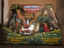 Masters of the Universe Classics SNAKE ARMOR HE-MAN & 200X KING HSSSS 2 Pack New