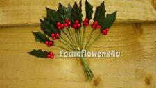 72 Amazing Artificial Holly Leaf Red Berries CHRISTMAS Card Making Cakes Invite