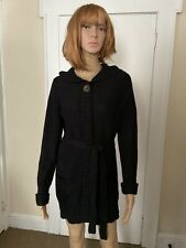 Womens Sweet Romeo Black Snap Button Long Sleeve Hooded Cardigan With Belt Sz L