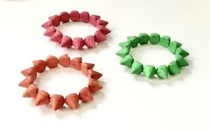 Imitation turquoise spikes stretch bracelets 1 each red, orange and green.