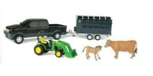 NEW John Deere Animal Hauling Set w/Pickup, Stock Trailer, Cattle TBEK37656