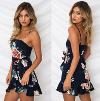 Sexy Off Shoulder Women Summer Short Dress Chiffon Floral Beach Party Dresses