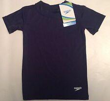 SPEEDO Unisex Youth Swim Size S Small 4-6X Shirt Rashguard Deep Blue UPF 50+ NEW