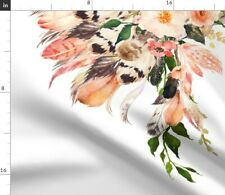 New listing Peach Flowers Floral Feathers Boho Spoonflower Fabric by the Yard