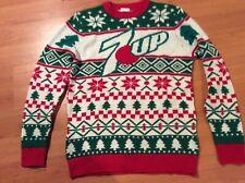 7 up mens ugly or nice Xmas sweater very rare with hat
