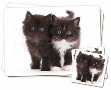 Black and White Kittens Twin 2x Placemats+2x Coasters Set in Gift Box, AC-78PC