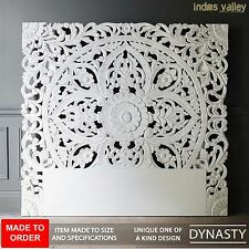 MADE TO ORDER Dynasty carved indian balinese Solid wood bedhead wall panel white