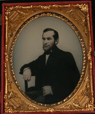 AMBROTYPE 1/4 PLATE TINTED PORTRAIT OF MAN. FULL UNION CASE. VERY CRISP PHOTO.