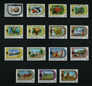 DOMINICA, 1972, set of 15 GLAZED PAPER stamps to 50c. value, MM, Cat £27.