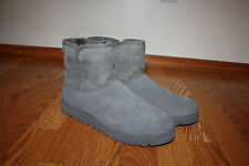 NEW Womens UGG CORY AUSTRALIA Gray Leather Sheep Skin Wool Lined Boots 8