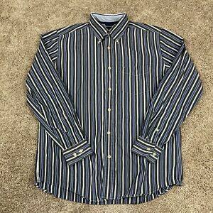 Tommy Hilfiger Shirt Mens Size Medium Black Blue Button Down Stripe Cotton Woven