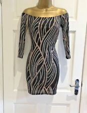 Stunning Sparkly Rose Gold Black Bardot Party Evening Bodycon Dress 6 8 10 12