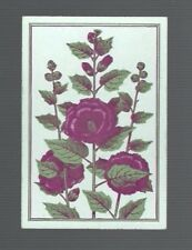 Playing  Cards 1 ANTIQUE SQUARE CORNER  HOLLYHOCK FLOWERS AWESOME  SQ42  C1800'S