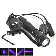 UV Violet LED WF-501B Tactical Flashlight Torch+Mount Gun+Remote Pressure Switch