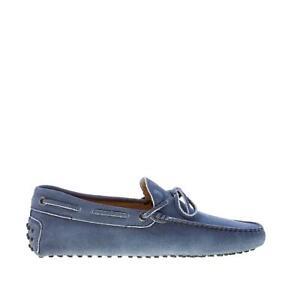 TOD'S scarpe uomo Mocassino gommini camoscio blu delavé con laccetto