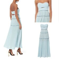 £450 Self Portrait Dress, Light Blue Bandeau Chevron Knit Maxi Long Dress, 14 UK