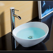 Basin Sink Bowl Oval Counter top Mini Ceramic Modern Cloakroom Bathroom 400mm