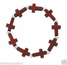Catholic Cherry Wood Crucifix Bracelet with Silver Bead Spacer, Stretchable, New