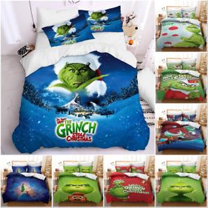 3D The Grinch Stole Christmas Duvet/Quilt/Cover Bedding Set Twin Kids PillowCase