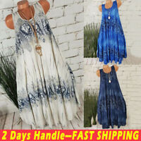 Women's Boho Printed Sleeveless Dress Tunic Vest Tank Tops Summer Loose Sundress