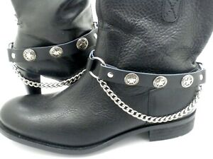 New Star Leather Biker Western PAIR Boot Straps W Chain Buckle Women Men