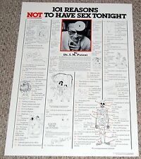 101 Reasons NOT To Have Sex Tonight Text Humor Satire Poster 1981 Pro Arts
