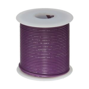 """28 AWG Gauge Stranded Hook Up Wire Violet 25 ft 0.0126"""" MIL Spec 600 Volts"""