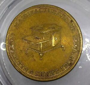 (1850's) FOSTER & MARTIN MI-12b (R-6) HARDWARE MICHIGAN MERCHANT TOKEN